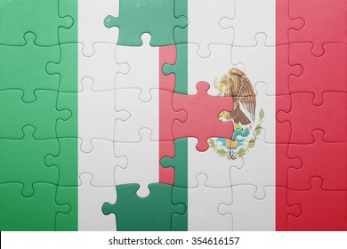 puzzle with the national flag of italy and mexico . concept
