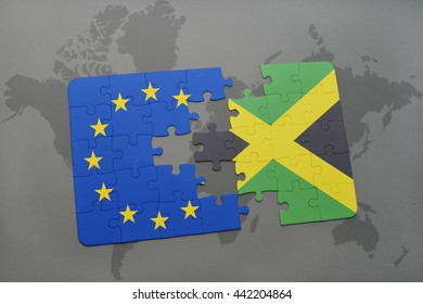 puzzle with the national flag of jamaica and european union on a world map