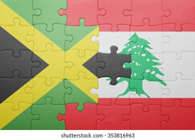 puzzle with the national flag of jamaica and lebanon . concept