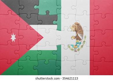 puzzle with the national flag of jordan and mexico . concept