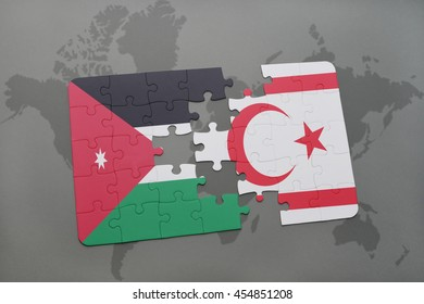 puzzle with the national flag of jordan and northern cyprus on a world map background. 3D illustration