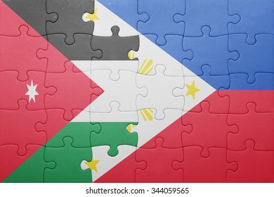 puzzle with the national flag of jordan and philippines . concept