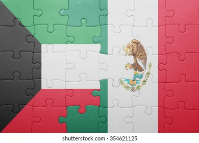 puzzle with the national flag of kuwait and mexico . concept