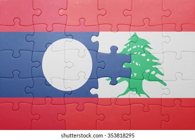 puzzle with the national flag of laos and lebanon . concept