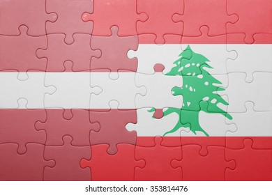 puzzle with the national flag of latvia and lebanon . concept