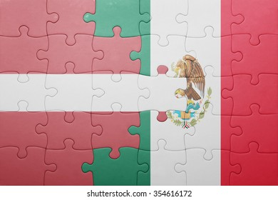 puzzle with the national flag of latvia and mexico . concept