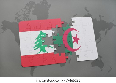 puzzle with the national flag of lebanon and algeria on a world map background. 3D illustration