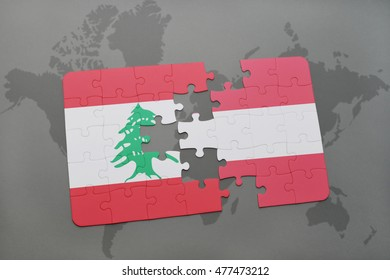 puzzle with the national flag of lebanon and austria on a world map background. 3D illustration