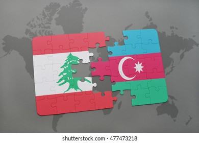 puzzle with the national flag of lebanon and azerbaijan on a world map background. 3D illustration
