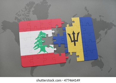 puzzle with the national flag of lebanon and barbados on a world map background. 3D illustration