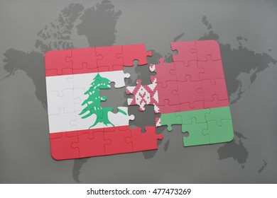 puzzle with the national flag of lebanon and belarus on a world map background. 3D illustration
