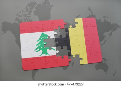 puzzle with the national flag of lebanon and belgium on a world map background. 3D illustration