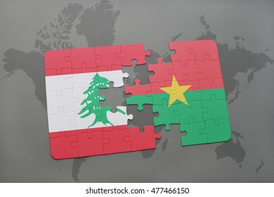 puzzle with the national flag of lebanon and burkina faso on a world map background. 3D illustration