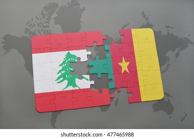 puzzle with the national flag of lebanon and cameroon on a world map background. 3D illustration