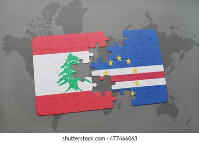 puzzle with the national flag of lebanon and cape verde on a world map background. 3D illustration