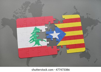 puzzle with the national flag of lebanon and catalonia on a world map background. 3D illustration