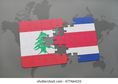 puzzle with the national flag of lebanon and costa rica on a world map background. 3D illustration