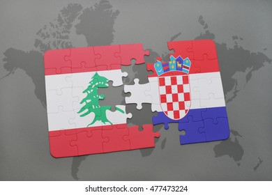 puzzle with the national flag of lebanon and croatia on a world map background. 3D illustration