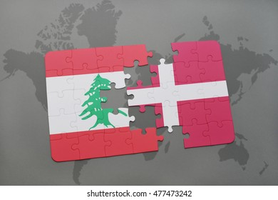 puzzle with the national flag of lebanon and denmark on a world map background. 3D illustration