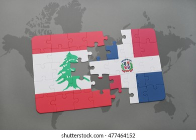 puzzle with the national flag of lebanon and dominican republic on a world map background. 3D illustration