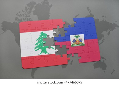 puzzle with the national flag of lebanon and haiti on a world map background. 3D illustration