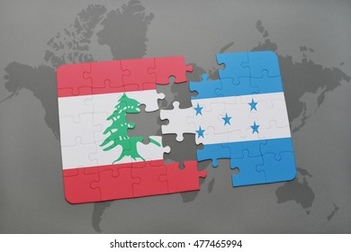 puzzle with the national flag of lebanon and honduras on a world map background. 3D illustration