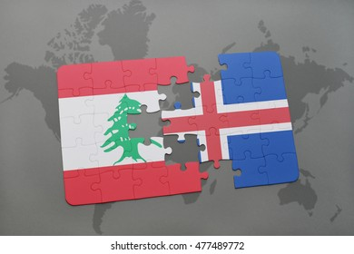 puzzle with the national flag of lebanon and iceland on a world map background. 3D illustration
