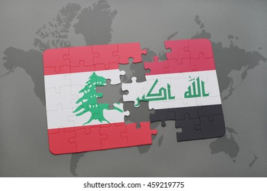 puzzle with the national flag of lebanon and iraq on a world map background. 3D illustration