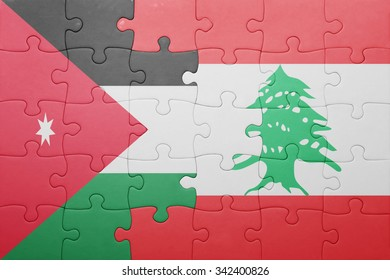 puzzle with the national flag of lebanon and jordan . concept