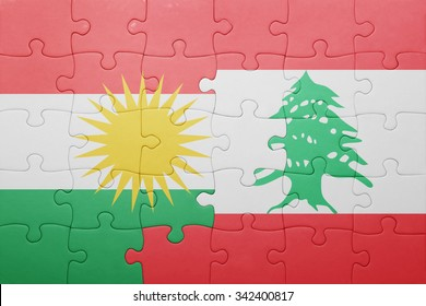 puzzle with the national flag of lebanon and kurdistan . concept