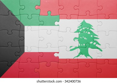 puzzle with the national flag of lebanon and kuwait . concept