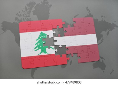 puzzle with the national flag of lebanon and latvia on a world map background. 3D illustration
