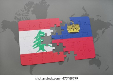 puzzle with the national flag of lebanon and liechtenstein on a world map background. 3D illustration