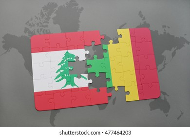 puzzle with the national flag of lebanon and mali on a world map background. 3D illustration