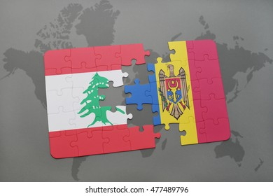 puzzle with the national flag of lebanon and moldova on a world map background. 3D illustration
