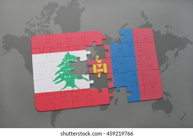 puzzle with the national flag of lebanon and mongolia on a world map background. 3D illustration
