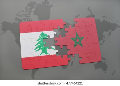 puzzle with the national flag of lebanon and morocco on a world map background. 3D illustration
