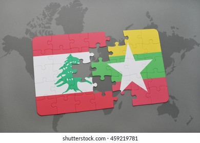 puzzle with the national flag of lebanon and myanmar on a world map background. 3D illustration