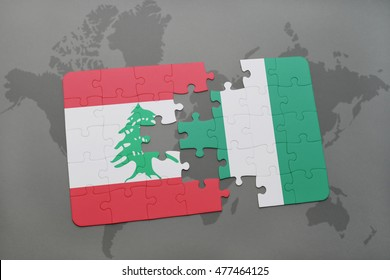 puzzle with the national flag of lebanon and nigeria on a world map background. 3D illustration