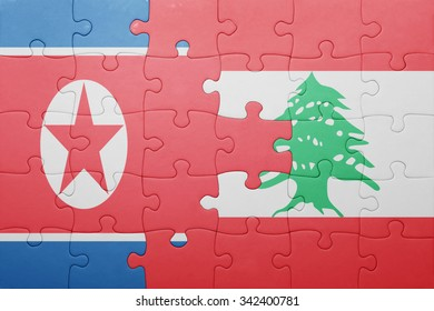 puzzle with the national flag of lebanon and north korea . concept