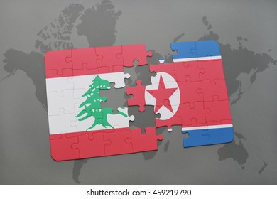 puzzle with the national flag of lebanon and north korea on a world map background. 3D illustration