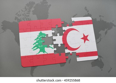 puzzle with the national flag of lebanon and northern cyprus on a world map background. 3D illustration