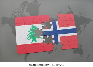 puzzle with the national flag of lebanon and norway on a world map background. 3D illustration