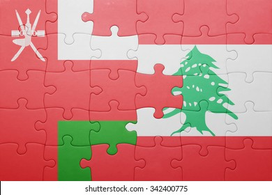 puzzle with the national flag of lebanon and oman . concept