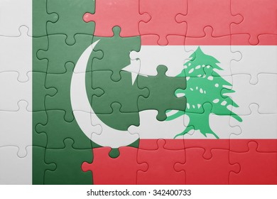 puzzle with the national flag of lebanon and pakistan . concept