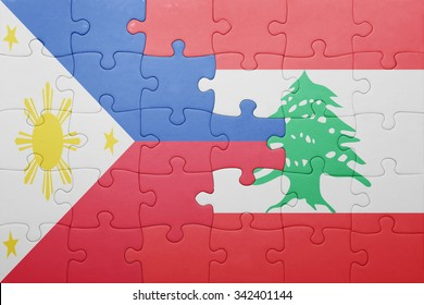 puzzle with the national flag of lebanon and philippines . concept