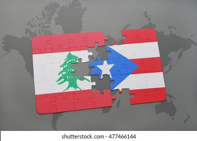 puzzle with the national flag of lebanon and puerto rico on a world map background. 3D illustration