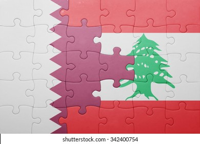 puzzle with the national flag of lebanon and qatar . concept