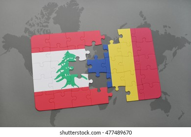 puzzle with the national flag of lebanon and romania on a world map background. 3D illustration