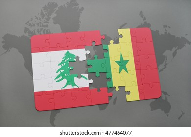 puzzle with the national flag of lebanon and senegal on a world map background. 3D illustration